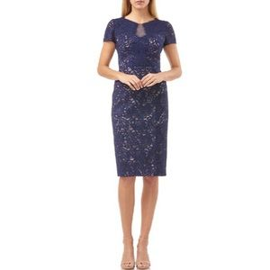 NWT J.S. Collections Panel Lace Short Sleeve Dress